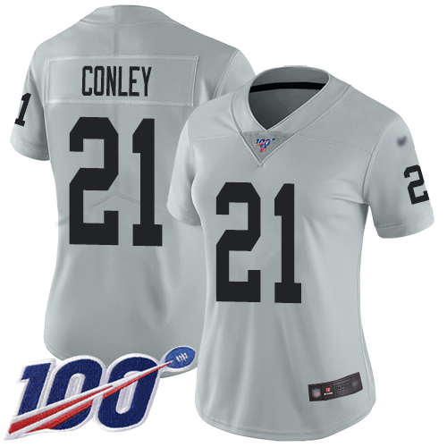Nike Raiders #21 Gareon Conley Silver Women's Stitched NFL Limited Inverted Legend 100th Season Jersey