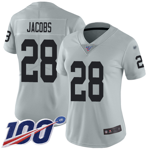 Nike Raiders #28 Josh Jacobs Silver Women's Stitched NFL Limited Inverted Legend 100th Season Jersey