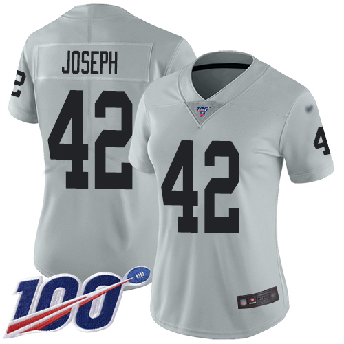 Nike Raiders #42 Karl Joseph Silver Women's Stitched NFL Limited Inverted Legend 100th Season Jersey