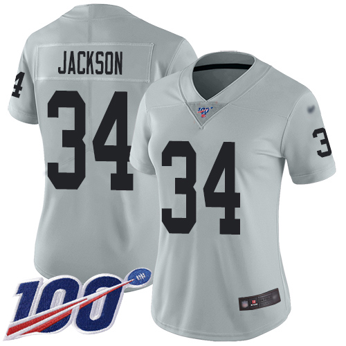 Nike Raiders #34 Bo Jackson Silver Women's Stitched NFL Limited Inverted Legend 100th Season Jersey