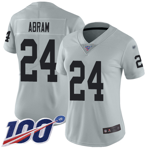 Nike Raiders #24 Johnathan Abram Silver Women's Stitched NFL Limited Inverted Legend 100th Season Jersey