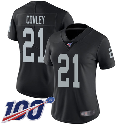Nike Raiders #21 Gareon Conley Black Team Color Women's Stitched NFL 100th Season Vapor Limited Jersey