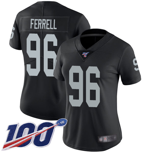 Nike Raiders #96 Clelin Ferrell Black Team Color Women's Stitched NFL 100th Season Vapor Limited Jersey