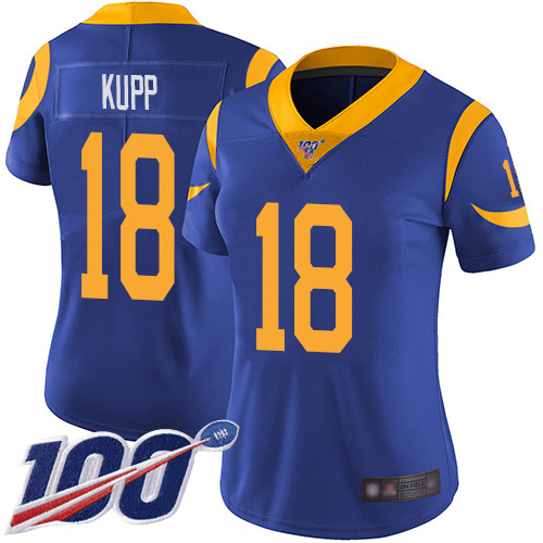 Nike Rams #18 Cooper Kupp Royal Blue Alternate Women's Stitched NFL 100th Season Vapor Limited Jersey