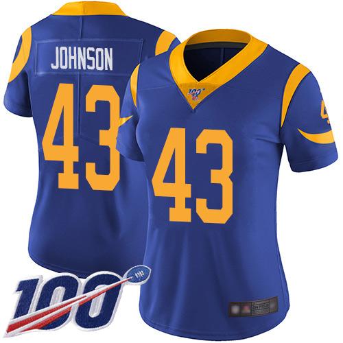 Nike Rams #43 John Johnson Royal Blue Alternate Women's Stitched NFL 100th Season Vapor Limited Jersey