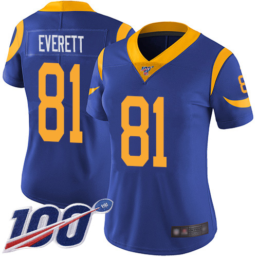 Nike Rams #81 Gerald Everett Royal Blue Alternate Women's Stitched NFL 100th Season Vapor Limited Jersey