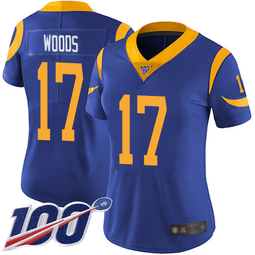 Nike Rams #17 Robert Woods Royal Blue Alternate Women's Stitched NFL 100th Season Vapor Limited Jersey