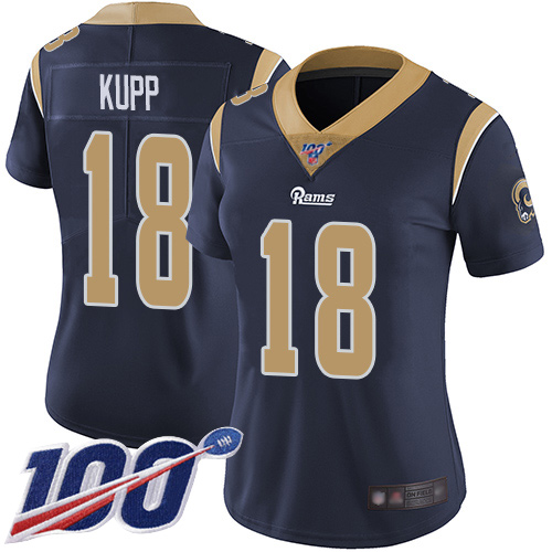 Nike Rams #18 Cooper Kupp Navy Blue Team Color Women's Stitched NFL 100th Season Vapor Limited Jersey