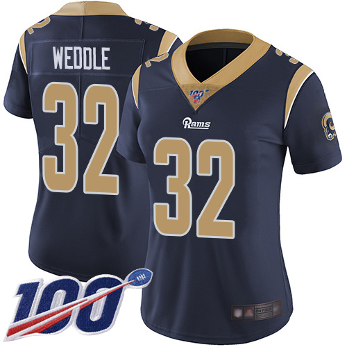 Nike Rams #32 Eric Weddle Navy Blue Team Color Women's Stitched NFL 100th Season Vapor Limited Jersey