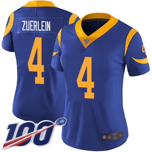 Nike Rams #4 Greg Zuerlein Royal Blue Alternate Women's Stitched NFL 100th Season Vapor Limited Jersey