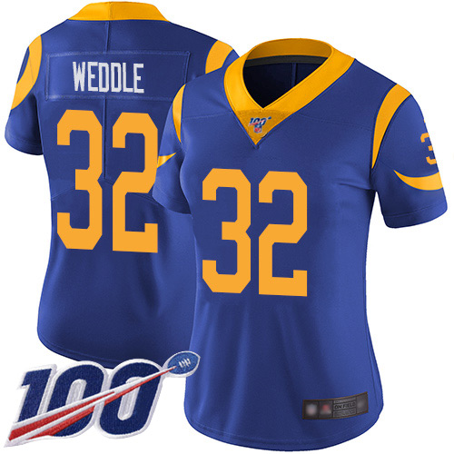 Nike Rams #32 Eric Weddle Royal Blue Alternate Women's Stitched NFL 100th Season Vapor Limited Jersey