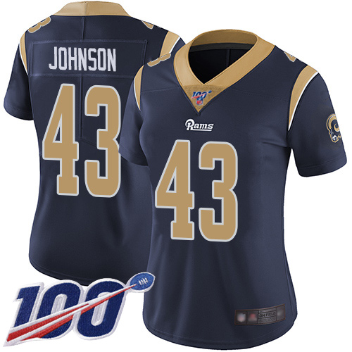 Nike Rams #43 John Johnson Navy Blue Team Color Women's Stitched NFL 100th Season Vapor Limited Jersey