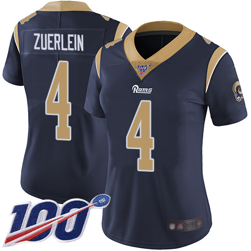 Nike Rams #4 Greg Zuerlein Navy Blue Team Color Women's Stitched NFL 100th Season Vapor Limited Jersey