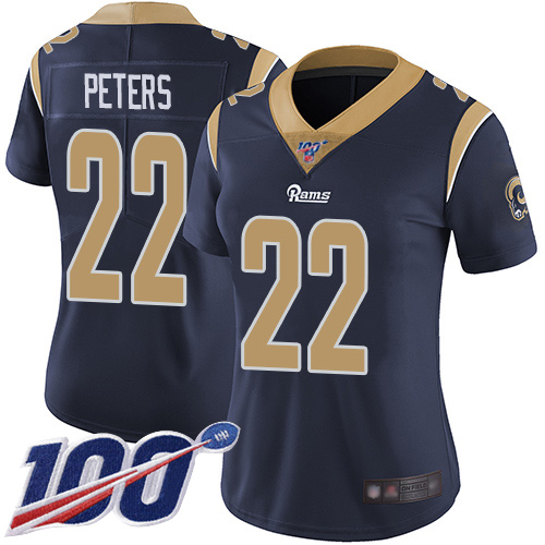 Nike Rams #22 Marcus Peters Navy Blue Team Color Women's Stitched NFL 100th Season Vapor Limited Jersey