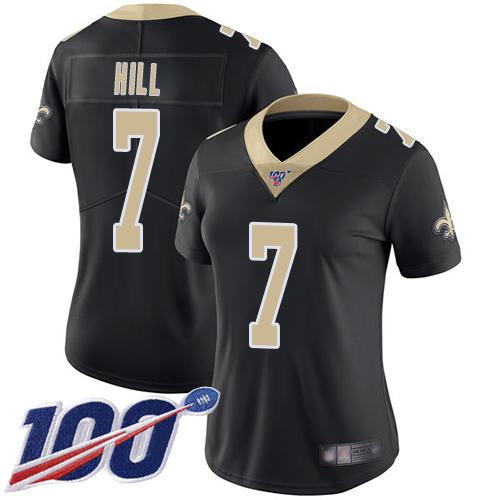 Nike Saints #7 Taysom Hill Black Team Color Women's Stitched NFL 100th Season Vapor Limited Jersey