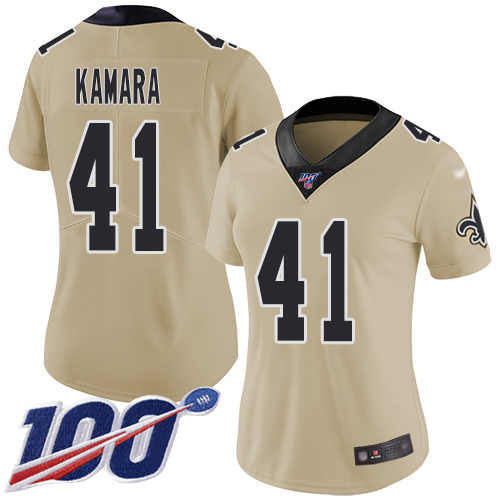 Nike Saints #41 Alvin Kamara Gold Women's Stitched NFL Limited Inverted Legend 100th Season Jersey