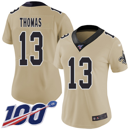 Nike Saints #13 Michael Thomas Gold Women's Stitched NFL Limited Inverted Legend 100th Season Jersey