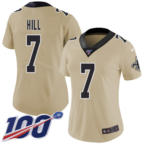Nike Saints #7 Taysom Hill Gold Women's Stitched NFL Limited Inverted Legend 100th Season Jersey