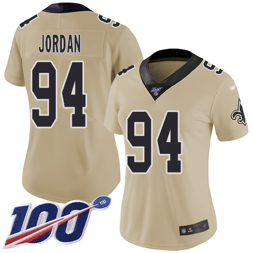 Nike Saints #94 Cameron Jordan Gold Women's Stitched NFL Limited Inverted Legend 100th Season Jersey