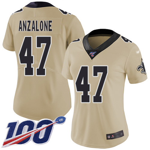 Nike Saints #47 Alex Anzalone Gold Women's Stitched NFL Limited Inverted Legend 100th Season Jersey
