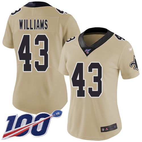 Nike Saints #43 Marcus Williams Gold Women's Stitched NFL Limited Inverted Legend 100th Season Jersey