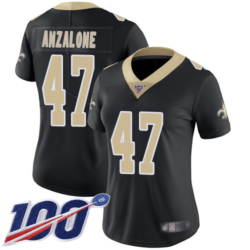 Nike Saints #47 Alex Anzalone Black Team Color Women's Stitched NFL 100th Season Vapor Limited Jersey