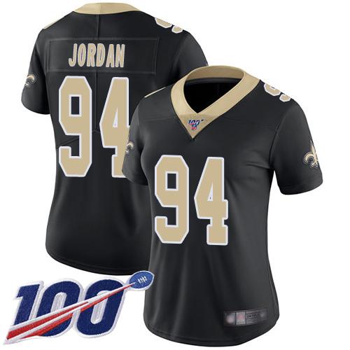 Nike Saints #94 Cameron Jordan Black Team Color Women's Stitched NFL 100th Season Vapor Limited Jersey