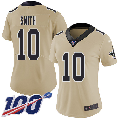 Nike Saints #10 Tre'Quan Smith Gold Women's Stitched NFL Limited Inverted Legend 100th Season Jersey