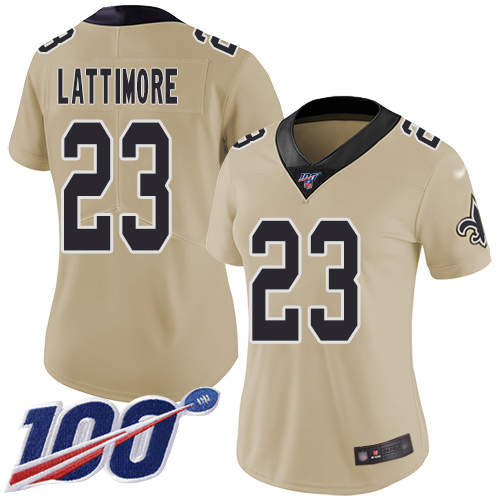 Nike Saints #23 Marshon Lattimore Gold Women's Stitched NFL Limited Inverted Legend 100th Season Jersey