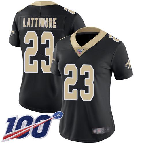 Nike Saints #23 Marshon Lattimore Black Team Color Women's Stitched NFL 100th Season Vapor Limited Jersey