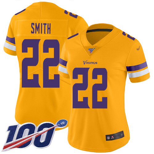Nike Vikings #22 Harrison Smith Gold Women's Stitched NFL Limited Inverted Legend 100th Season Jersey
