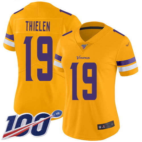 Nike Vikings #19 Adam Thielen Gold Women's Stitched NFL Limited Inverted Legend 100th Season Jersey