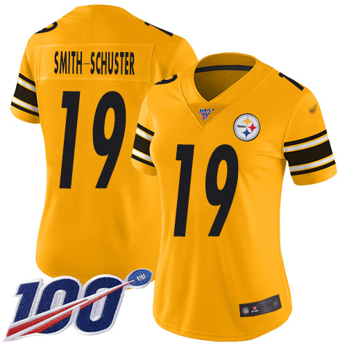 Nike Steelers #19 JuJu Smith-Schuster Gold Women's Stitched NFL Limited Inverted Legend 100th Season Jersey