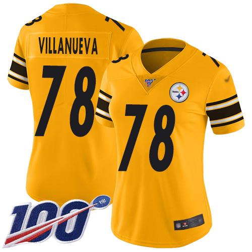 Nike Steelers #78 Alejandro Villanueva Gold Women's Stitched NFL Limited Inverted Legend 100th Season Jersey