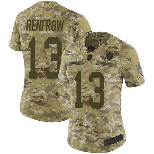 Raiders #13 Hunter Renfrow Camo Women's Stitched Football Limited 2018 Salute to Service Jersey