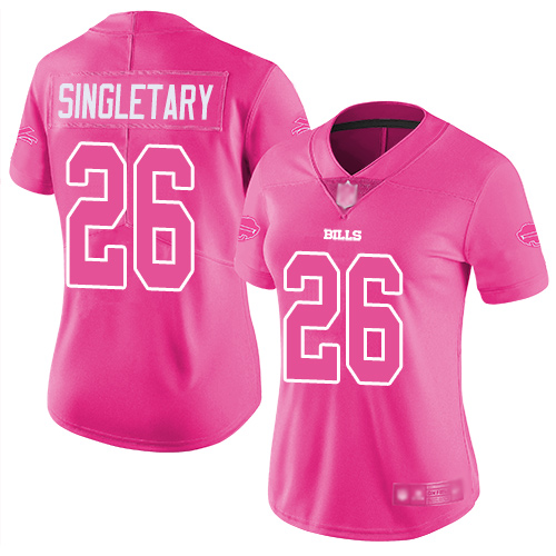 Bills #26 Devin Singletary Pink Women's Stitched Football Limited Rush Fashion Jersey