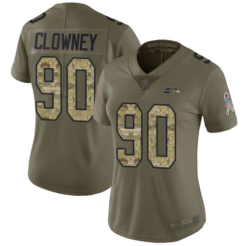 Seahawks #90 Jadeveon Clowney Olive Camo Women's Stitched Football Limited 2017 Salute to Service Jersey