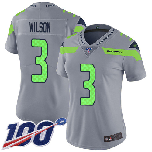 Seahawks #3 Russell Wilson Gray Women's Stitched Football Limited Inverted Legend 100th Season Jersey