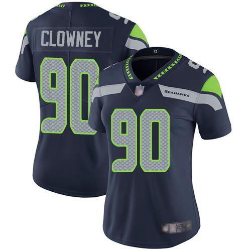 Seahawks #90 Jadeveon Clowney Steel Blue Team Color Women's Stitched Football Vapor Untouchable Limited Jersey