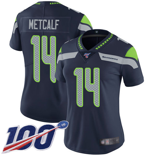Seahawks #14 D.K. Metcalf Steel Blue Team Color Women's Stitched Football 100th Season Vapor Limited Jersey