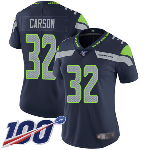 Seahawks #32 Chris Carson Steel Blue Team Color Women's Stitched Football 100th Season Vapor Limited Jersey