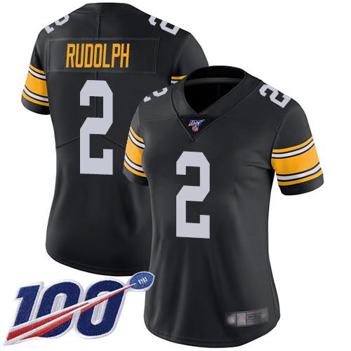 Steelers #2 Mason Rudolph Black Alternate Women's Stitched Football 100th Season Vapor Limited Jersey