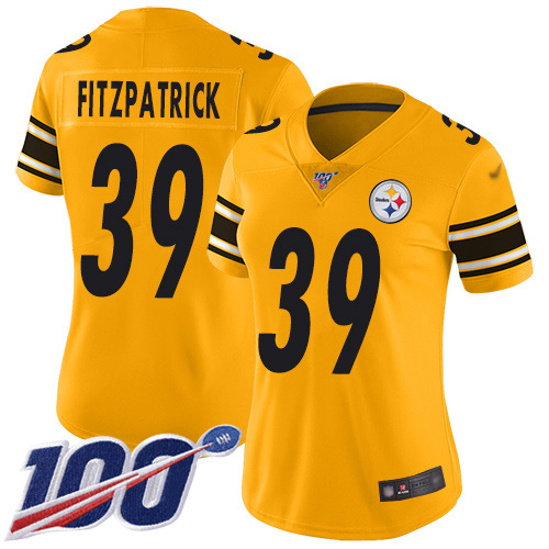 Steelers #39 Minkah Fitzpatrick Gold Women's Stitched Football Limited Inverted Legend 100th Season Jersey