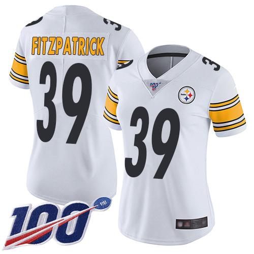 Steelers #39 Minkah Fitzpatrick White Women's Stitched Football 100th Season Vapor Limited Jersey