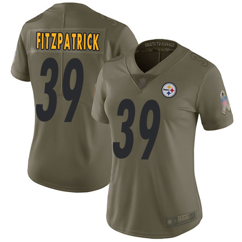 Steelers #39 Minkah Fitzpatrick Olive Women's Stitched Football Limited 2017 Salute to Service Jersey