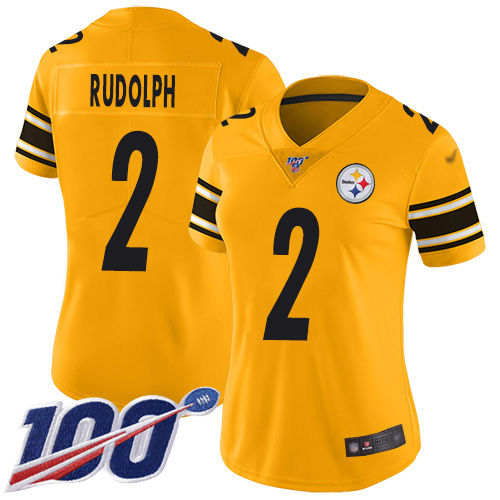 Steelers #2 Mason Rudolph Gold Women's Stitched Football Limited Inverted Legend 100th Season Jersey