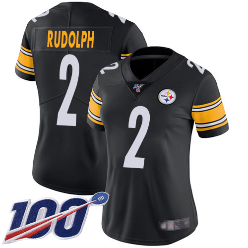 Steelers #2 Mason Rudolph Black Team Color Women's Stitched Football 100th Season Vapor Limited Jersey