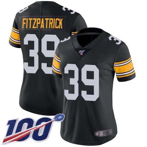 Steelers #39 Minkah Fitzpatrick Black Alternate Women's Stitched Football 100th Season Vapor Limited Jersey