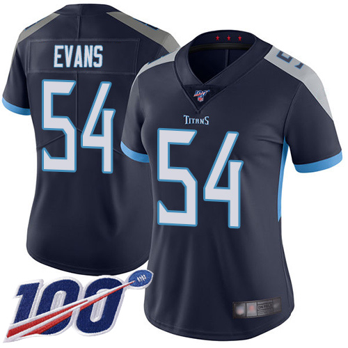 Titans #54 Rashaan Evans Navy Blue Team Color Women's Stitched Football 100th Season Vapor Limited Jersey