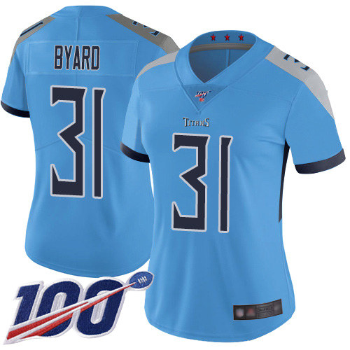 Titans #31 Kevin Byard Light Blue Alternate Women's Stitched Football 100th Season Vapor Limited Jersey